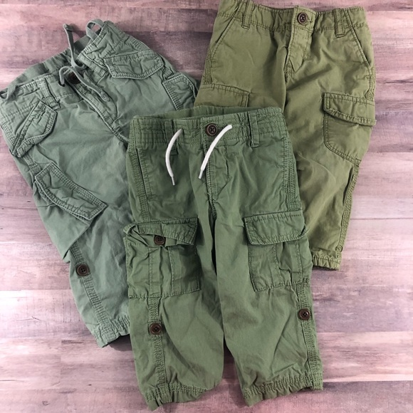 Toddler Boy 18-24 Months Jersey-Lined Green Slim Pull-On Cargo Pants GAP Baby